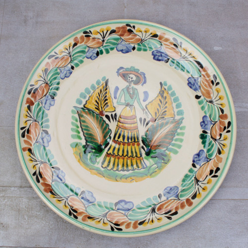 Majolica ceramic plate 'Lady Catrina'
