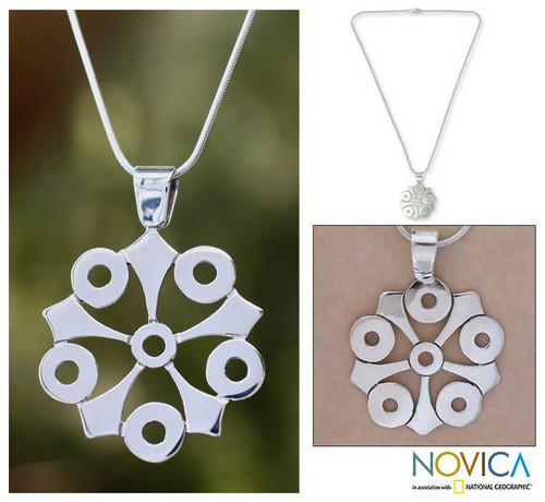 Taxco Silver Pendant Necklace 'Taxco Mandala'