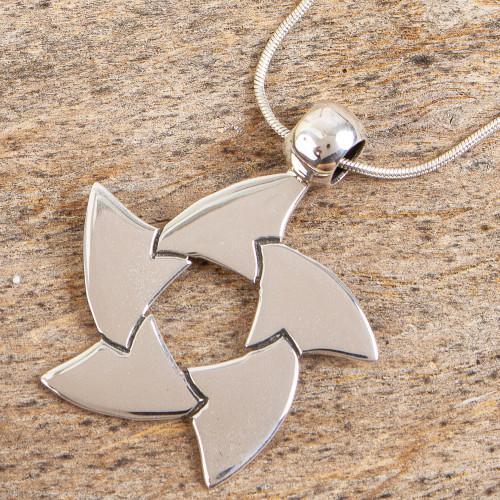 Unique Taxco Silver Pendant Necklace 'Eternal Flux'