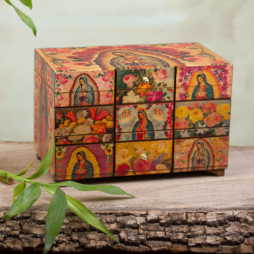 Catholic Wood Decorative Box 'A Bouquet for My Guadalupe'