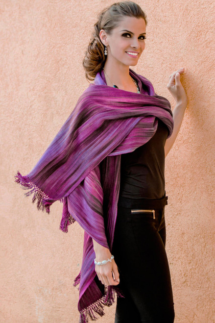 Unique Rayon Chenille Shawl 'Purple Ethereal Inspiration'