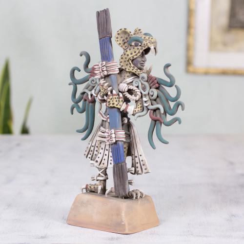 Ceramic sculpture 'Jaguar Warrior'