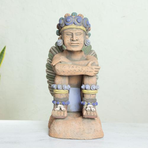 Collectible Aztec Ceramic Sculpture Museum Replica 'Pensive Tonatiuh'