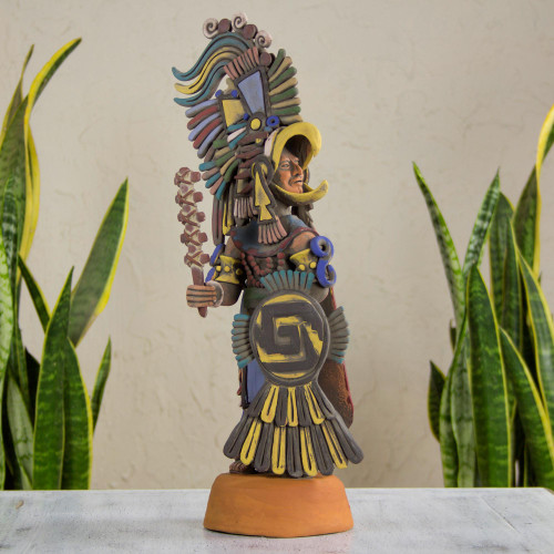 Hand Made Aztec Warrior Ceramic Replica Sculpture 'Large Eagle Warrior'