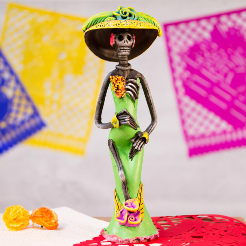Day of the Dead Catrina Sculpture Artisan Crafted 'Dazzling Catrina'