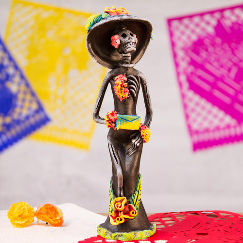 Day of the Dead Catrina Ceramic Sculpture Crafted by Hand 'Catrina the Seductress'