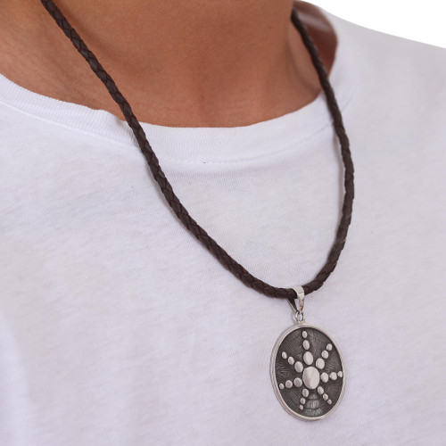 Taxco Silver and Brown Leather Artisan Crafted Necklace 'Star in the Moon'