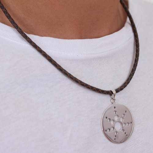 Geometric Theme Taxco Sterling Silver and Leather Necklace 'Molecular Sun'