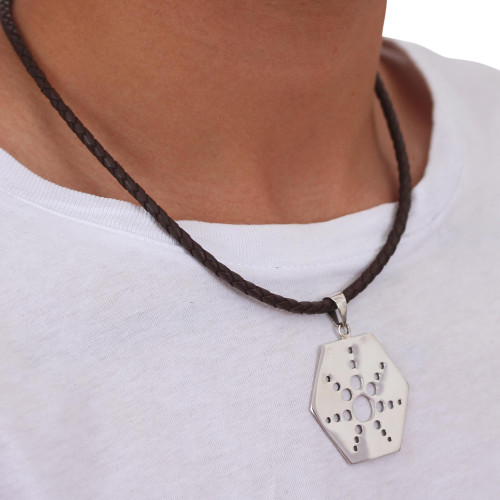 Taxco Sterling Silver Artisan Crafted Leather Necklace 'Molecular Star'