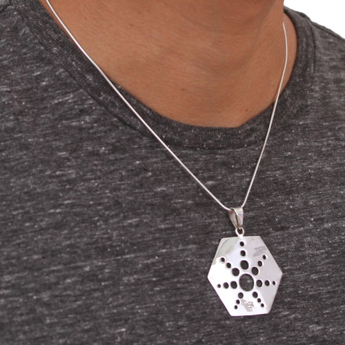 Taxco Sterling Silver Artisan Crafted Pendant Necklace 'Molecular Star'