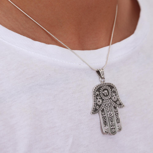 Artisan Crafted Taxco Sterling Silver Hamsa Symbol Necklace 'Hamsa Amulet'