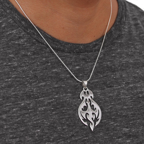 Sterling Silver Silhouette Handcrafted Pendant Necklace 'Shining Flame'