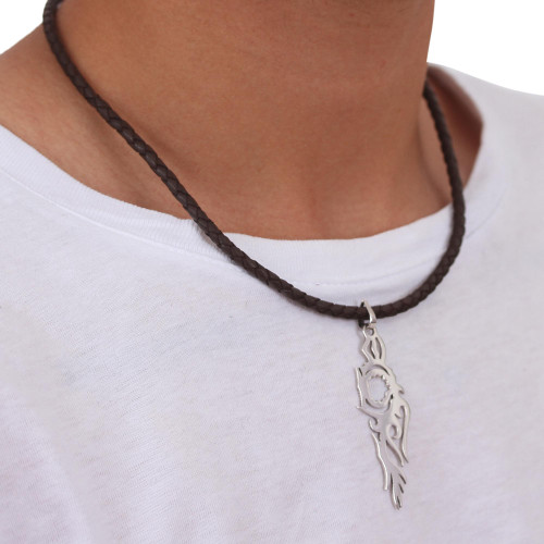 Taxco Silver Handmade Silhouette Leather Pendant Necklace 'Fire Bird'