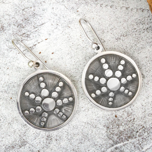 Taxco Sterling Silver Artisan Crafted Dangle Earrings 'Star in the Moon'