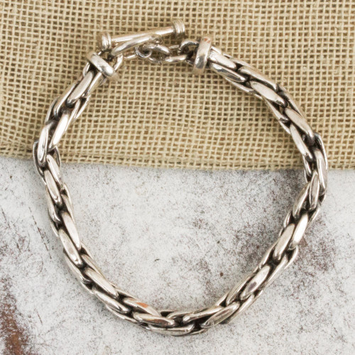 Womens Chain Bracelet 925 Sterling Silver from Mexico 'Smooth'