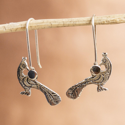 Womens Drop Sterling Silver Earrings with Bird from Mexico 'Fine Pheasant'