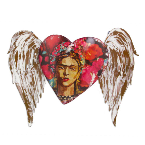 Iron Heart Theme Frida Kahlo Wall Sculpture from Mexico 'Frida's Red Winged Heart'