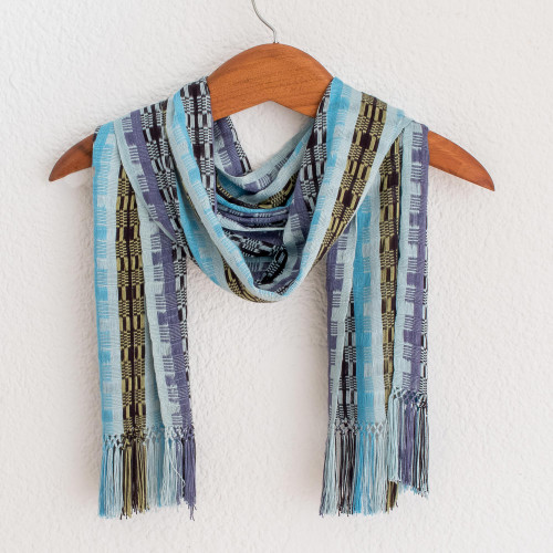 Hand Woven Rayon Scarf in Shades of Blue and Lilac 'Multicolor Blue Bamboo'
