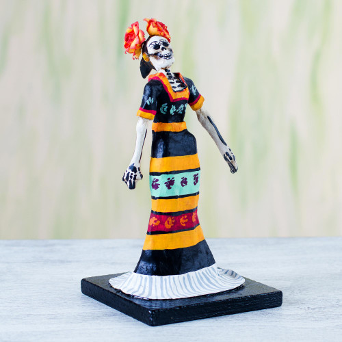 Papier Mache Figurine of a Skeleton in a Traditional Dress 'Traditional Catrina'