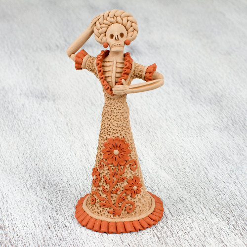 Handcrafted Ceramic Cultural Catrina Figurine from Mexico 'Flowering Catrina'