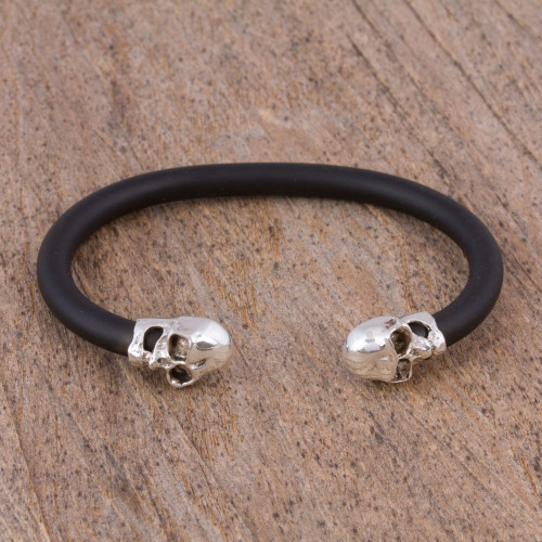 Sterling Silver Skull Cuff Bracelet from Mexico 'Skull Buddies'
