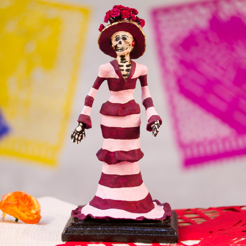 Papier Mache Catrina Sculpture with Stripes from Mexico 'Striped Catrina'