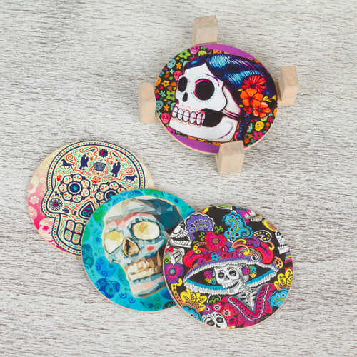 Day of the Dead Decoupage Coasters and Stand Set of 4 'Festival of the Dead'