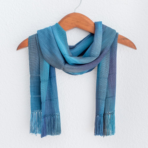 Handwoven Rayon Wrap Scarf in Blue from Guatemala 'Smooth Breeze in Blue'