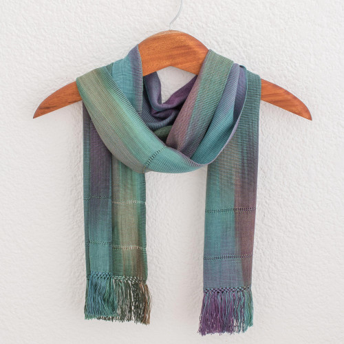 Handwoven 100 Rayon Wrap Scarf from Guatemala 'Smooth Breeze'