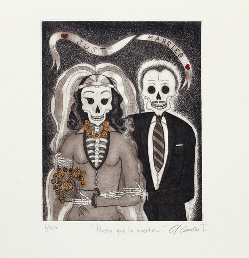 Signed Surrealist Print of a Skeleton Couple from Mexico 'Til Death Do Us Part'