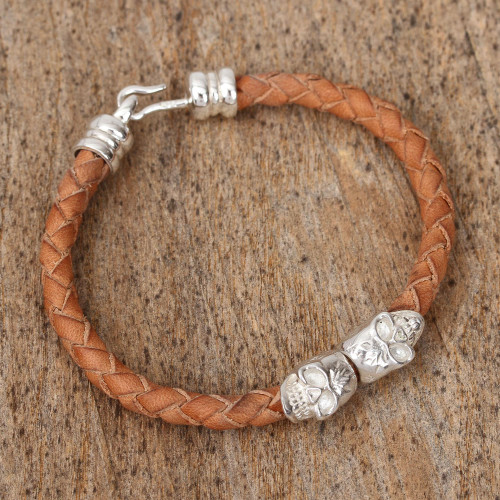 Mexican Sterling Silver Skull Hand Braided Leather Bracelet 'Stylish Death'