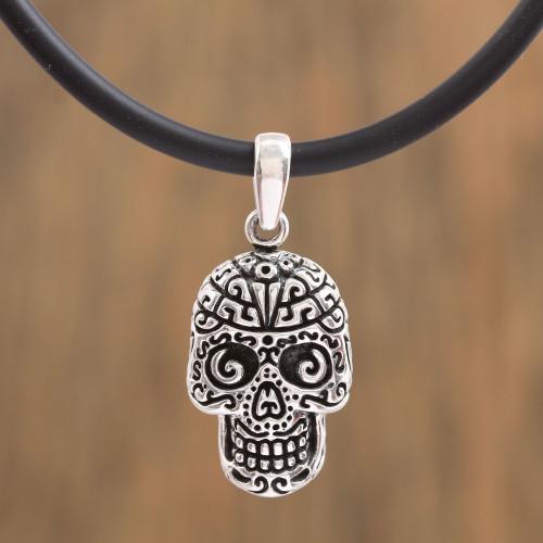 Handcrafted Sterling Silver Skull Pendant Necklace 'Silver Skull'