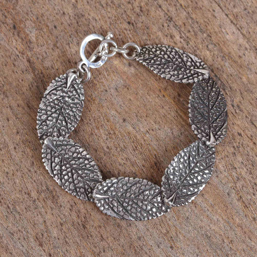 Modern Leaf Sterling Silver Link Bracelet from Mexico 'Dry Leaves'