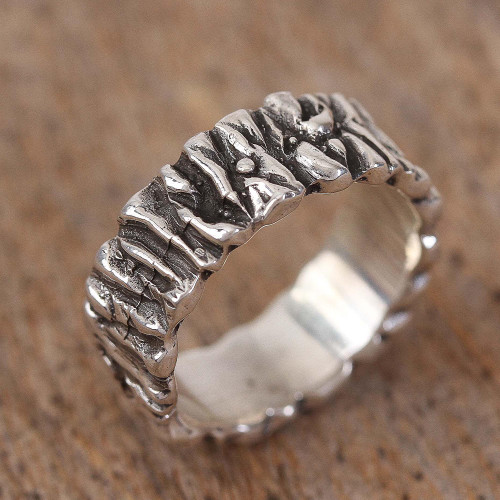 Modern Taxco Sterling Silver Band Ring from Mexico 'Taxco Texture'