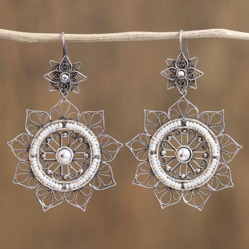 Floral Taxco Sterling Silver Filigree Dangle Earrings 'Floral Taxco Mandala'