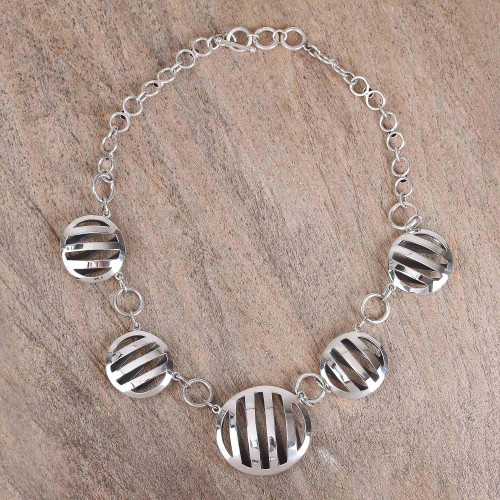 Modern Circular Sterling Silver Link Necklace from Mexico 'Modern Baskets'