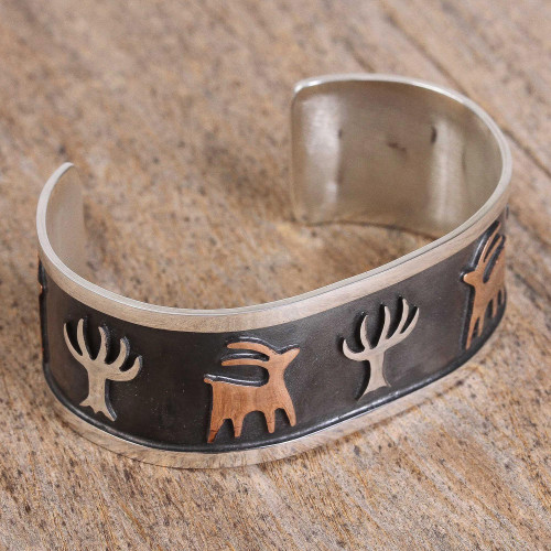 Deer and Tree Motif Taxco Sterling Silver Cuff Bracelet 'Deer Forest'