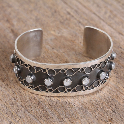 Taxco Moonstone Cuff Bracelet from Mexico 'Taxco Curls'