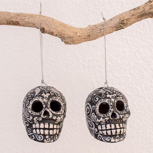 Hand-Painted Ceramic Skull Ornaments from Guatemala Pair 'Eternal Life'