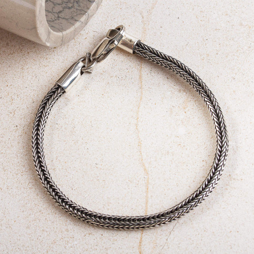 Handcrafted Men's Sterling Silver Naga Chain Link Bracelet 'Tamed Texture'