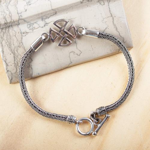 Men's Sterling Silver Naga Chain Geometric Pendant Bracelet 'Quadrants'