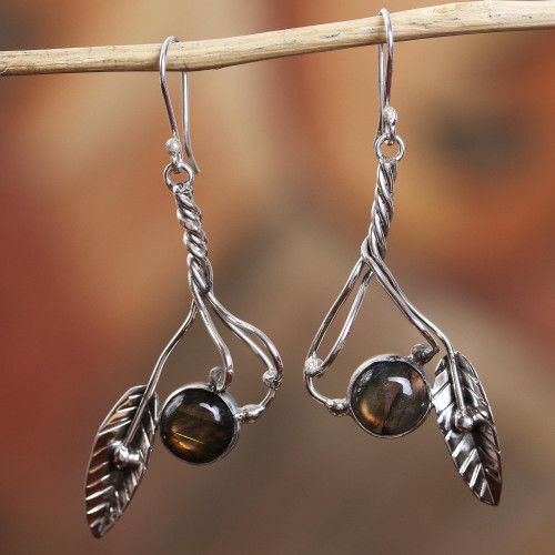 Sterling Silver and Labradorite Nature Motif Dangle Earrings 'Twist in the Breeze'