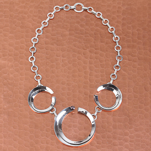 Cultured Pearl and Sterling Silver Circles Pendant Necklace 'Moon Menagerie'