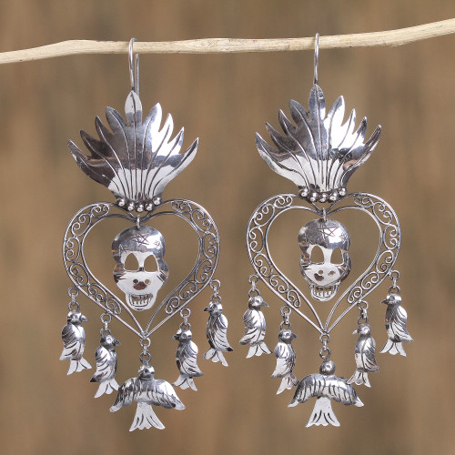 Religious Taxco Sterling Silver Chandelier Earrings 'Miracle of San Miguel'