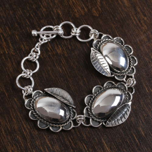 Handcrafted Sterling Silver Large Oval Flower Link Bracelet 'Decadent Blooms'