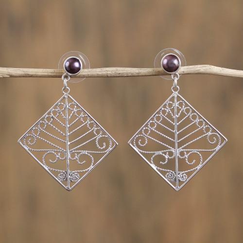 Taxco Cultured Pearl Filigree Dangle Earrings from Mexico 'Tree Diamonds'
