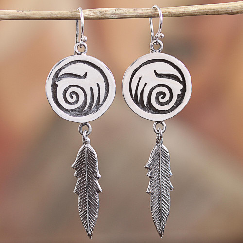 Navajo Sterling Silver Wave Dangle Earrings from Mexico 'Navajo Currents'