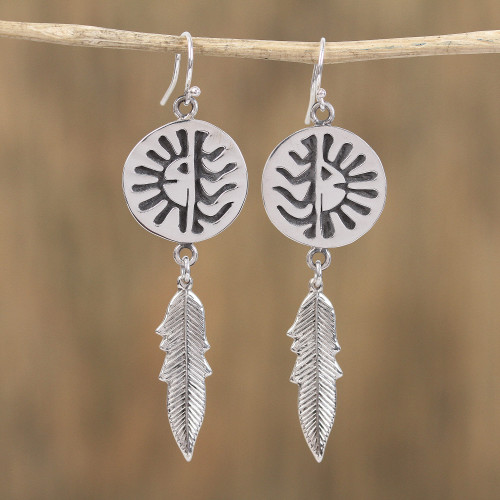 Navajo Sterling Silver Eclipse Dangle Earrings from Mexico 'Navajo Eclipse'