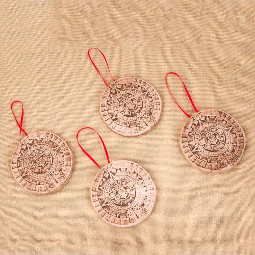 Aztec Calendar Ceramic Ornaments from Mexico Set of 4 'Aztec Calendar'