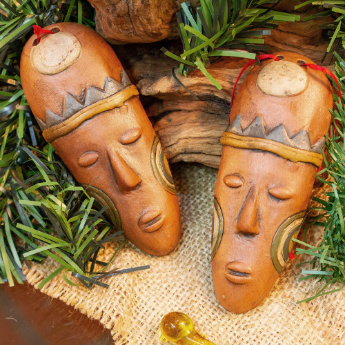 Ceramic Mask Ornaments in Brown from Mexico Pair 'Charming Masks'